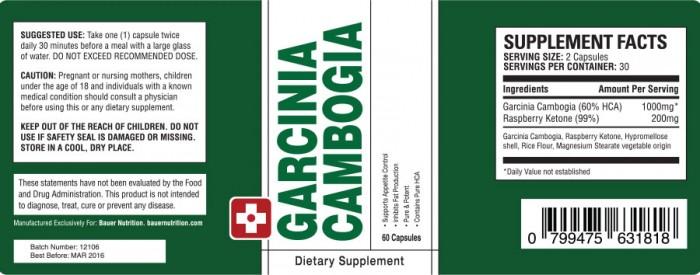 garcinia cambogia bauer nutrition