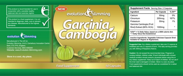 garcinia cambogia 1000mg evolution slimming - etichetta